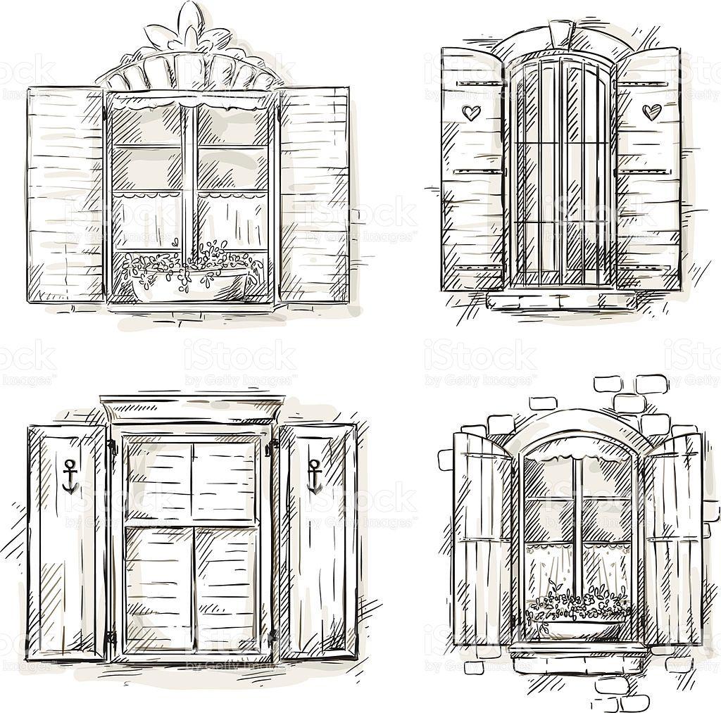 Vintage window hand drawn set of vector drawings EPS 10 in ...