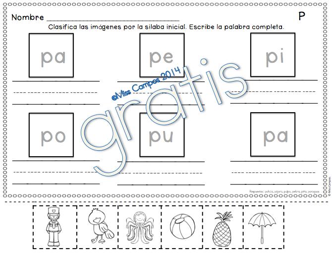 FREE - Fichas para P y las silabas pa pe pi po pu - gratis - Silabas ...