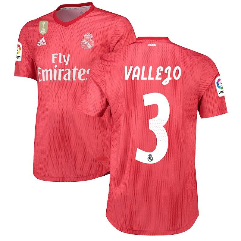 Jesús Vallejo Real Madrid adidas 2018 19 Third Authentic Player Jersey – Red 5541917b8