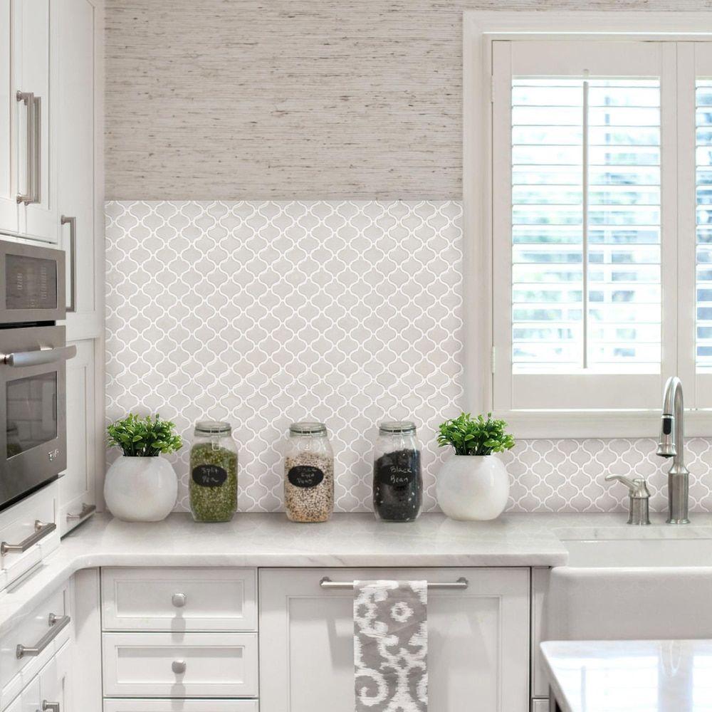 - BeausTile Bianco 4-piece Decorative Adhesive Faux Tile Sheets