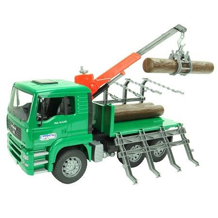 Man Timber Truck With Loading Crane And 3 Trunks Toy Trucks Crane Trucks