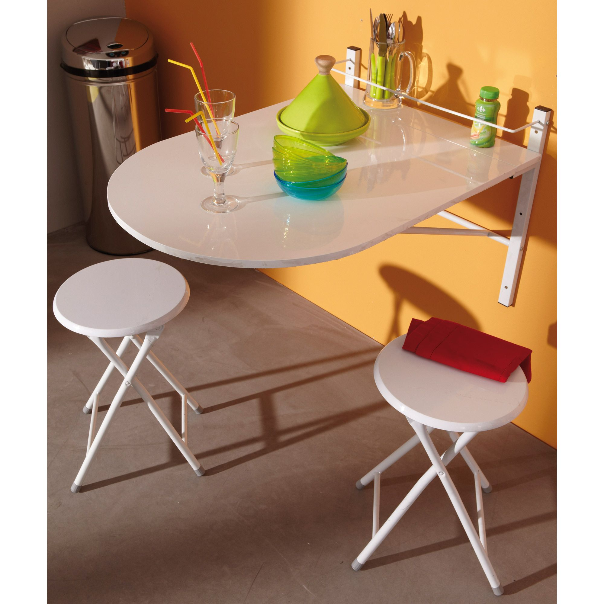 Wall Mounted Folding Table With 2 Folding Chairs White Kitchen