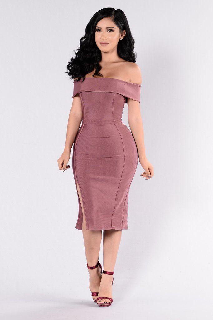 Available in Dark Mauve - Off Shoulder Bandage Dress - Midi Length -  Sleeveless - Zipper Back - Side Slit - 90% Polyester 10% Spandex a1d8d3f80