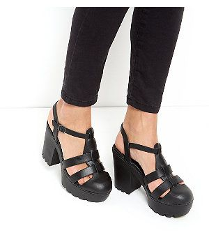 7cdbd86c9759 Black Chunky Caged Block Heel Sandals