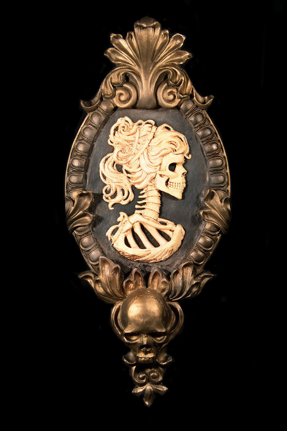 Gothic Victorian Lady Skeleton Cameo bone white in gold tone frame Wall Art by NecroticCreations on Etsy ... & Gothic Victorian Lady Skeleton Cameo bone white in gold tone frame ...