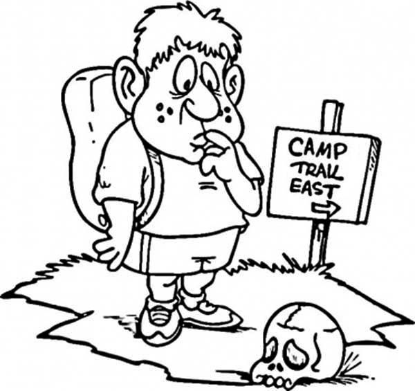 Summer Camp, : Finding Summer Camp Place Coloring Page