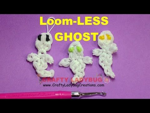 Rainbow Loom Bands HALLOWEEN GHOST - NO LOOM EASY Charm Tutorials/How to Make by Crafty Ladybug - YouTube