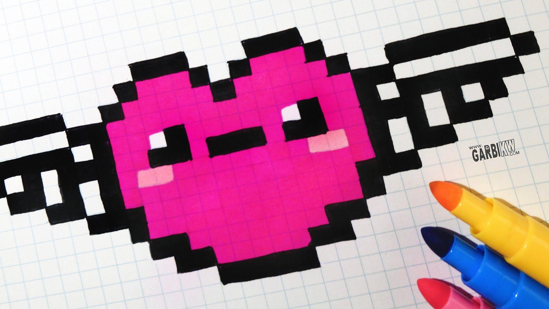 Handmade Pixel Art How To Draw Kawaii Heart With Wings
