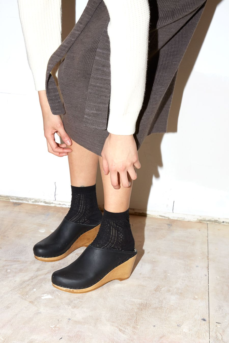No.6 New School Clog in Black | Socks