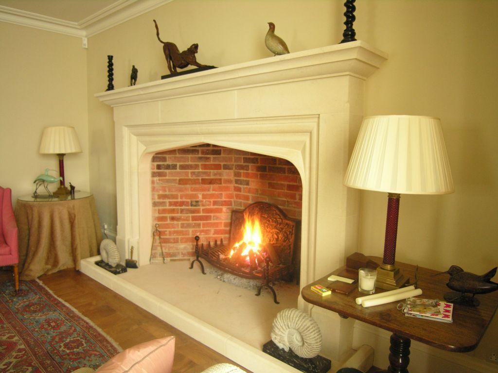Large Bespoke Jacobean Arched Stone Fireplace Fireplace