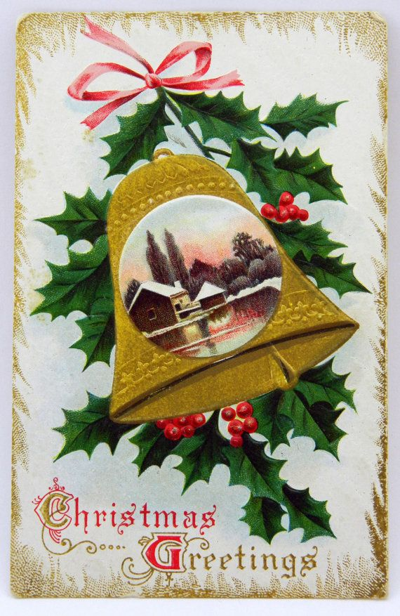 Antique Christmas Greetings Postcard Gold by QueeniesCollectibles, $2.99