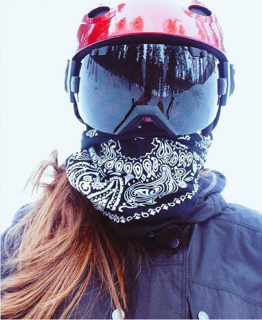Black bandana with snow goggles  4382e7f91399