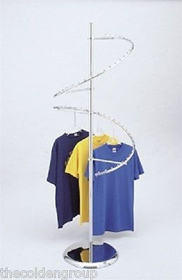 Unique New 56 Ball Chrome Double Spiral Clothing Garment Display Rack Round Base Diy Clothes Rack Clothing Rack Display