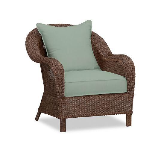 Palmetto All Weather Wicker Lounge Chair Honey Wicker Armchair