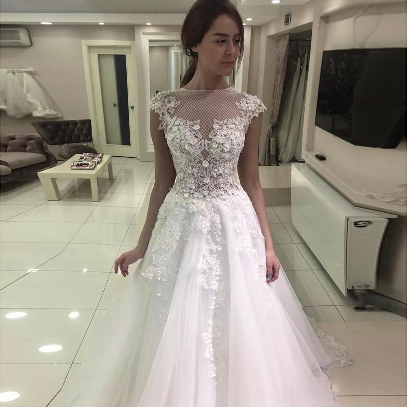 Cap sleeves wedding dress with lace wedding dresses lace