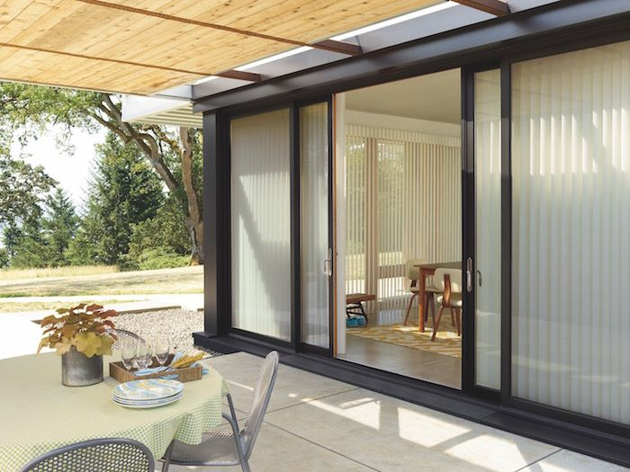 Luminette Privacy Sheers On A Sliding Glass Door For Sale At