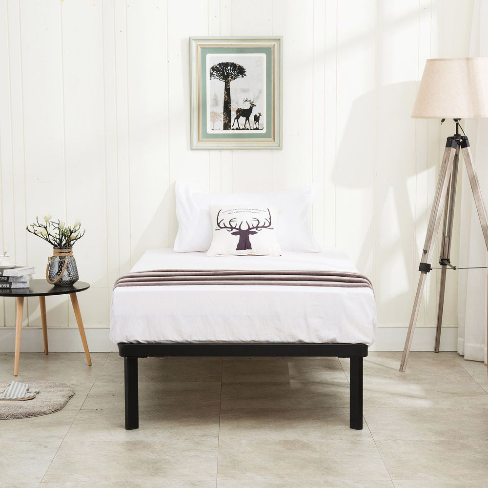 Twin Size Wood Slats Metal Bed Frame