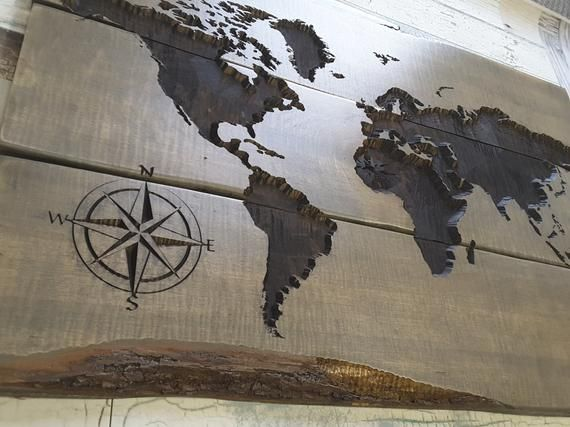 world map carved wood sign rustic and gorgeous in 2019 lasercutts wandbild holz holz