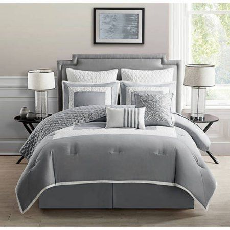 Vcny Home 2-Tone Square Frame 7/9 Piece Marion Bedding Comforter Set with Euro Shams, Multiple Colors and Sizes Available, Gray