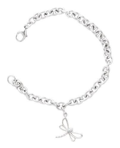 """Sterling Silver Diamond Dragonfly Charm Bracelet, 6.75"""" Amazon Curated Collection. $52.00"""