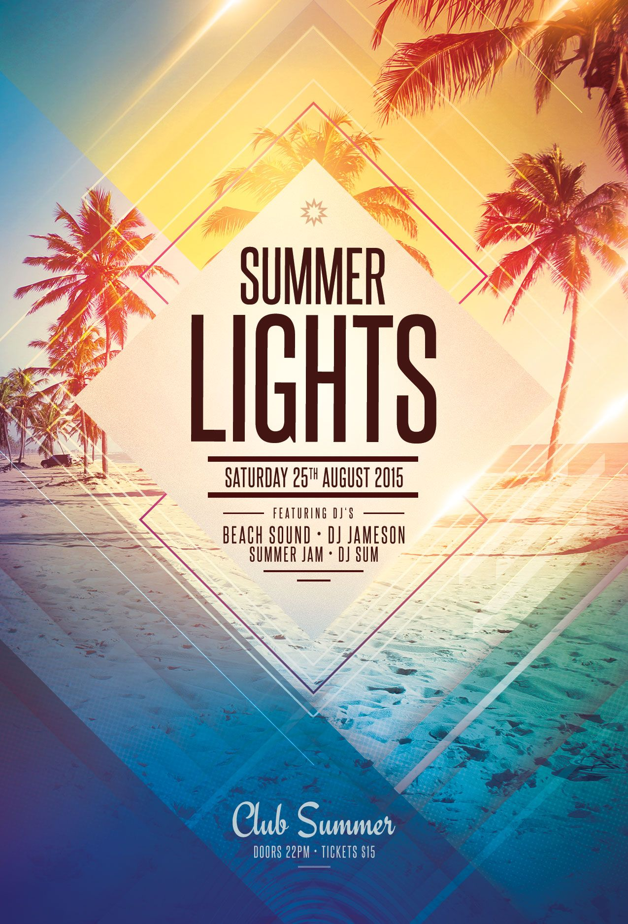 summer lights flyer template download psd file 9 плакат
