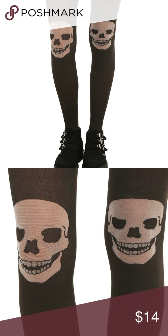 af555a028528e Skull TIGHTS Blackheart Hot Topic Black/White These black translucent tights  have skull designs on the knees. 85% nylon; 15% spandex Wash cold; ...
