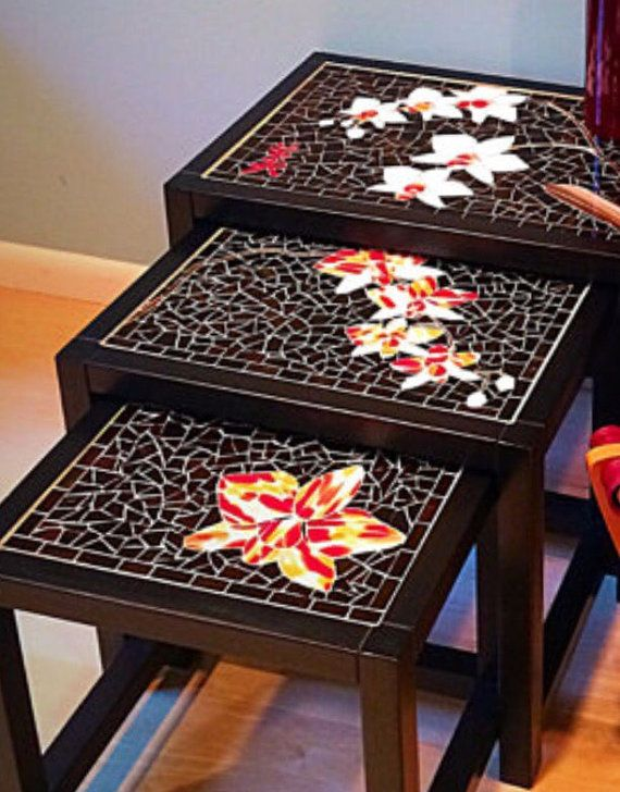Mosaic furniture Wood Asian nesting tables Set of 3 Oriental ...