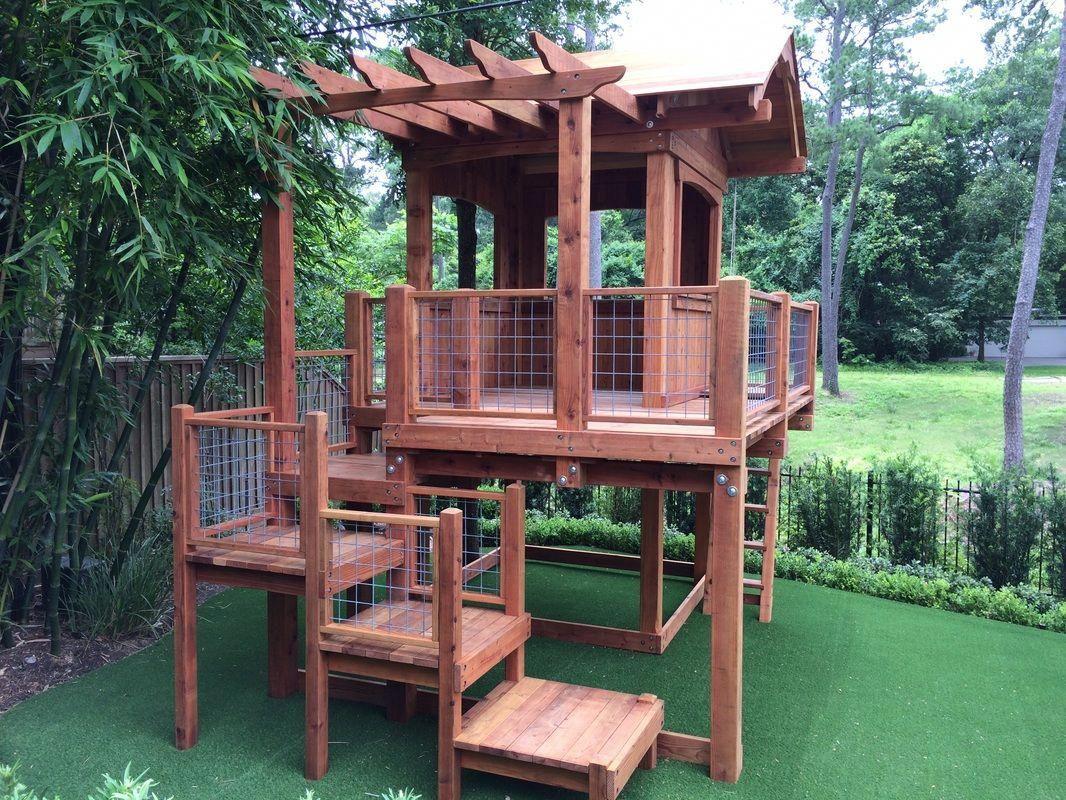 Offering Custom Redwood And Cedar Playsets And Swing Sets Custom Playset Fort Design In Houston Columbus Round Top Backyard Patio Backyard Playset Backyard