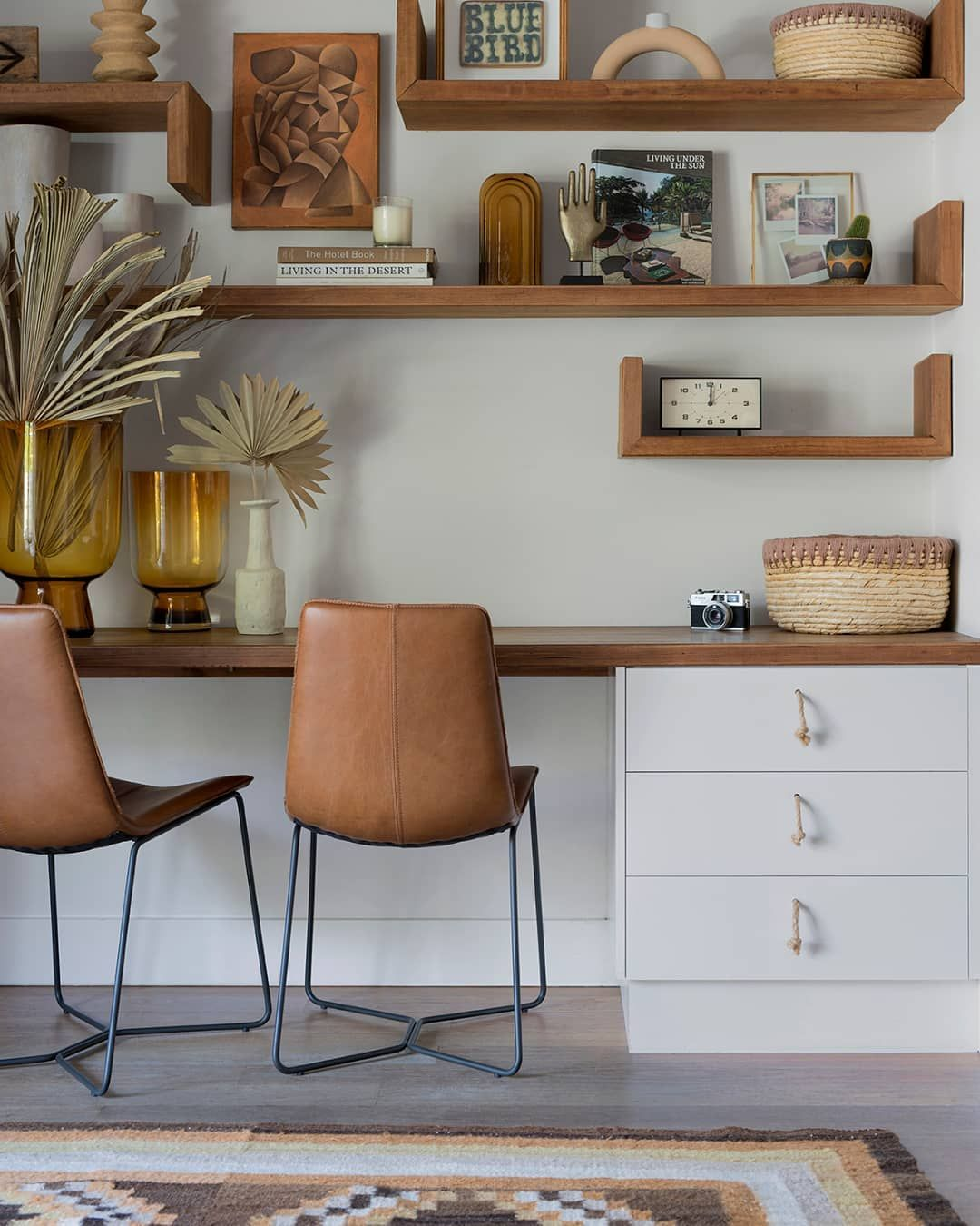 West Elm Australia On Instagram Earthy Tans Create A Natural Sense Of Ease In Our Home Away From Home Atlant In 2020 Home Office Shelves Leather Dining Chairs Home