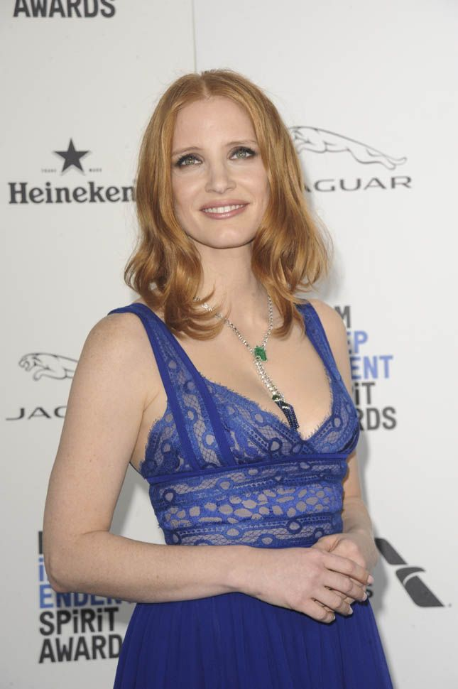 Jessica Chastain in blue at the 2016 Independent Spirit Awards
