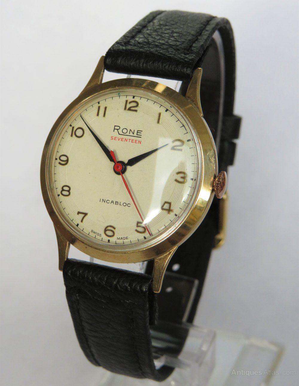 Gold 9 Watch1960 Rone Wrist Atlas Carat Antiques Gents nkZ80OPNwX
