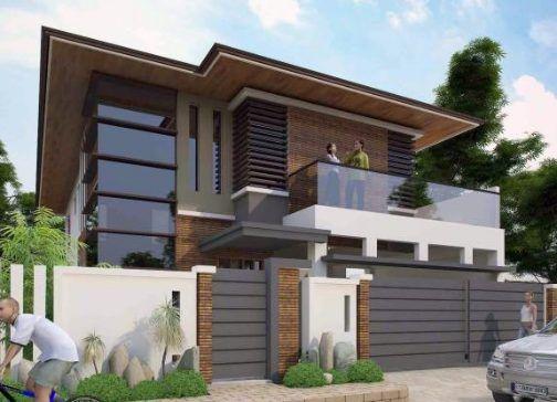 Fachadas de casas de dos pisos con balcon fachadas de for Fachada de casas modernas con balcon
