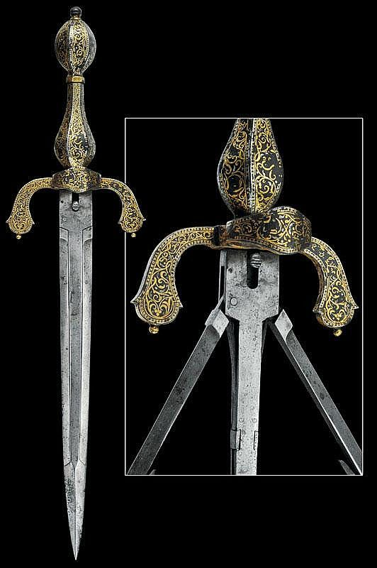 """A triple-bladed left hand dagger, Italy, ca 17th century. (I believe this was also called a """"weapon breaker"""")."""