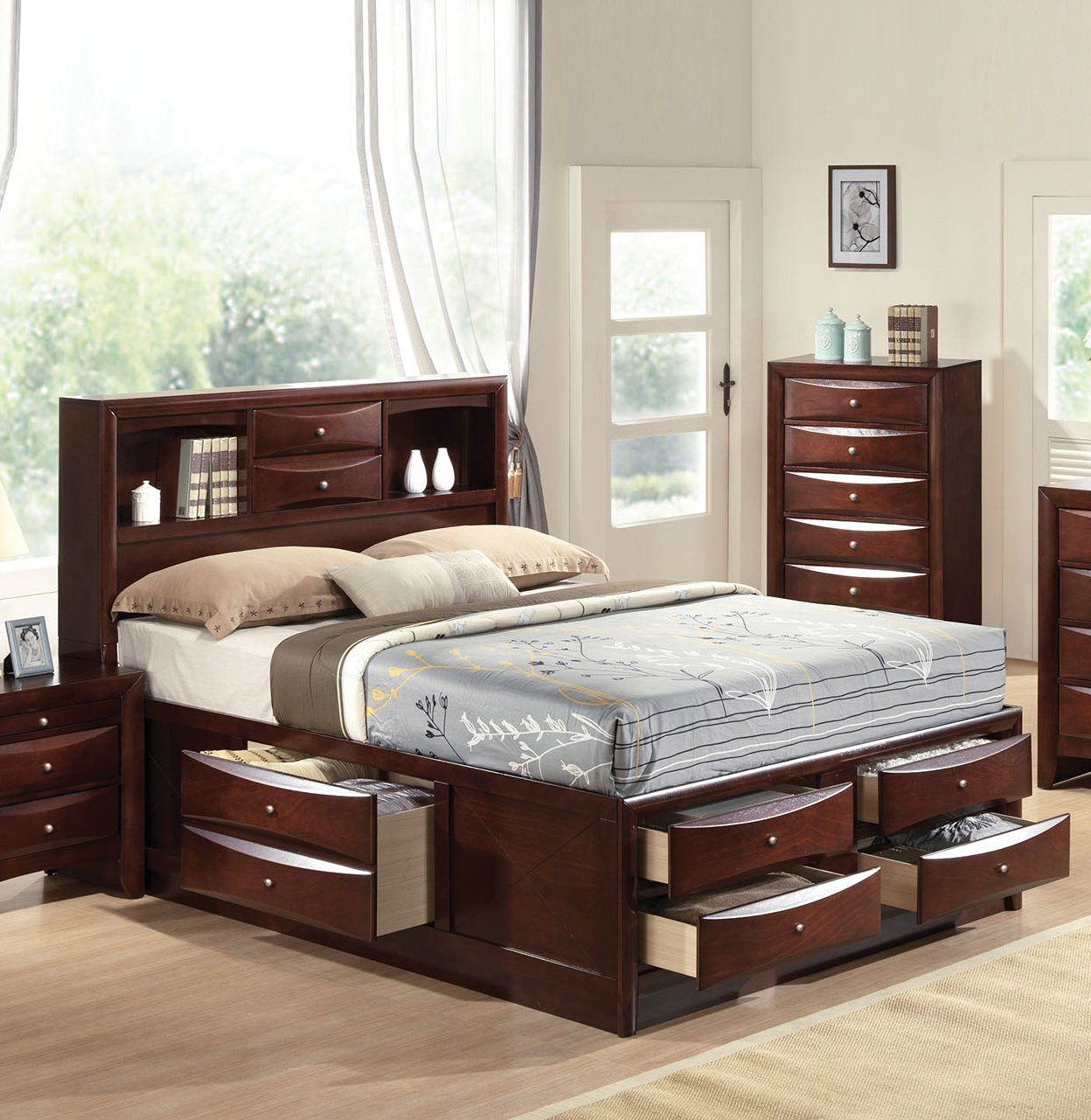 Acme 21596ek Ireland Espresso Bookcase King Storage Bed With