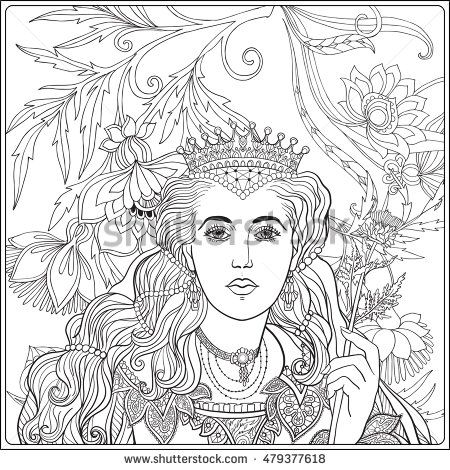 Queen On Medieval Floral Pattern Background Coloring Book