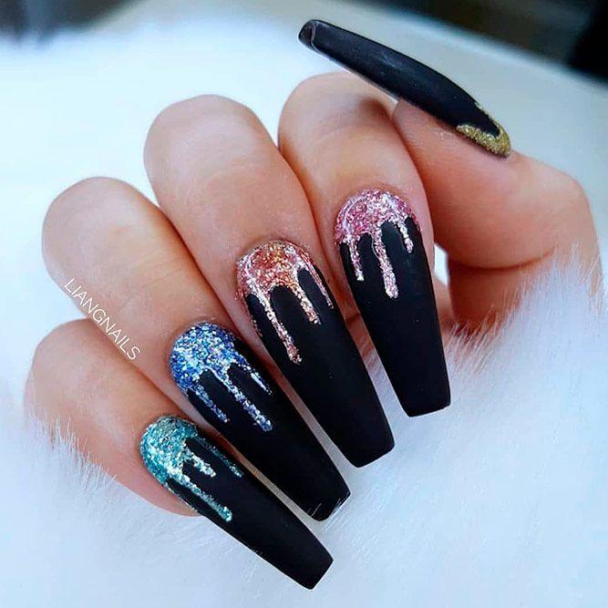 Colorful Glitter Nail Design