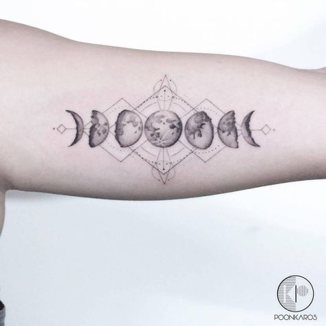 Photo of Moon phases tattoo on the left inner arm.