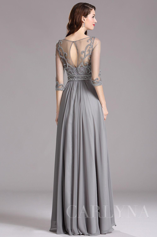 Carlyna Sleeves 2019 Beaded Dresse62008En Prom Grey Elbow qSzGVpUM