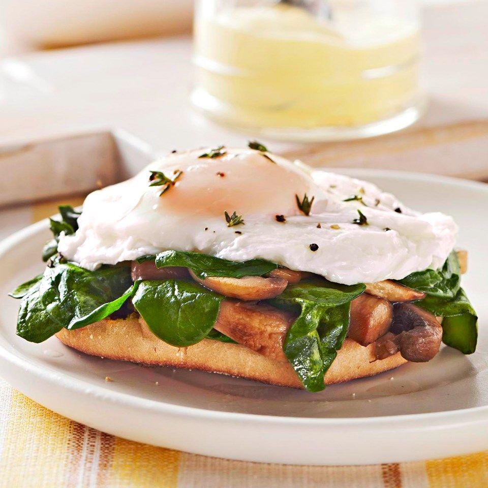 Ham And Avocado Scramble Recipe: Mushroom-Spinach Eggs Benedict