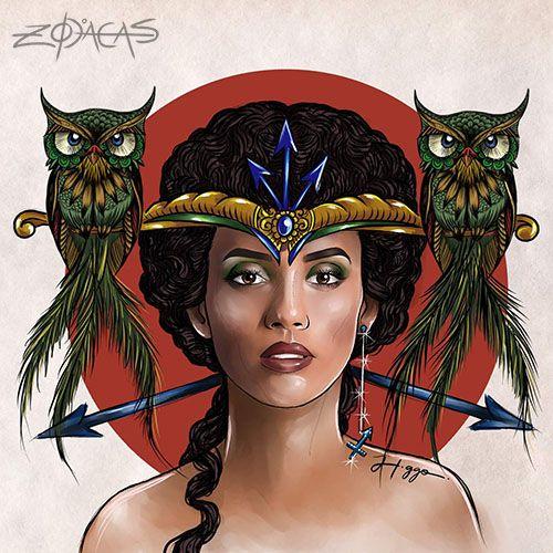 Zodiaca de Sagitário - Taís Araujo   #taisaraujo  #illustration #ilustracao #atriz