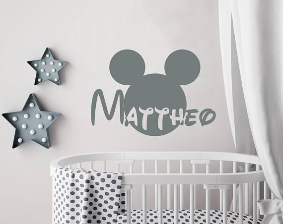 Boy Name Wall Decal Mickey Mouse Decals Nursery Decor Wall Decal Personalized Baby Boy Wall Art Decal Decor Custom Name Vinyl Sticker Kp23 Baby Boys Wall Art Baby Boys Wall Boy