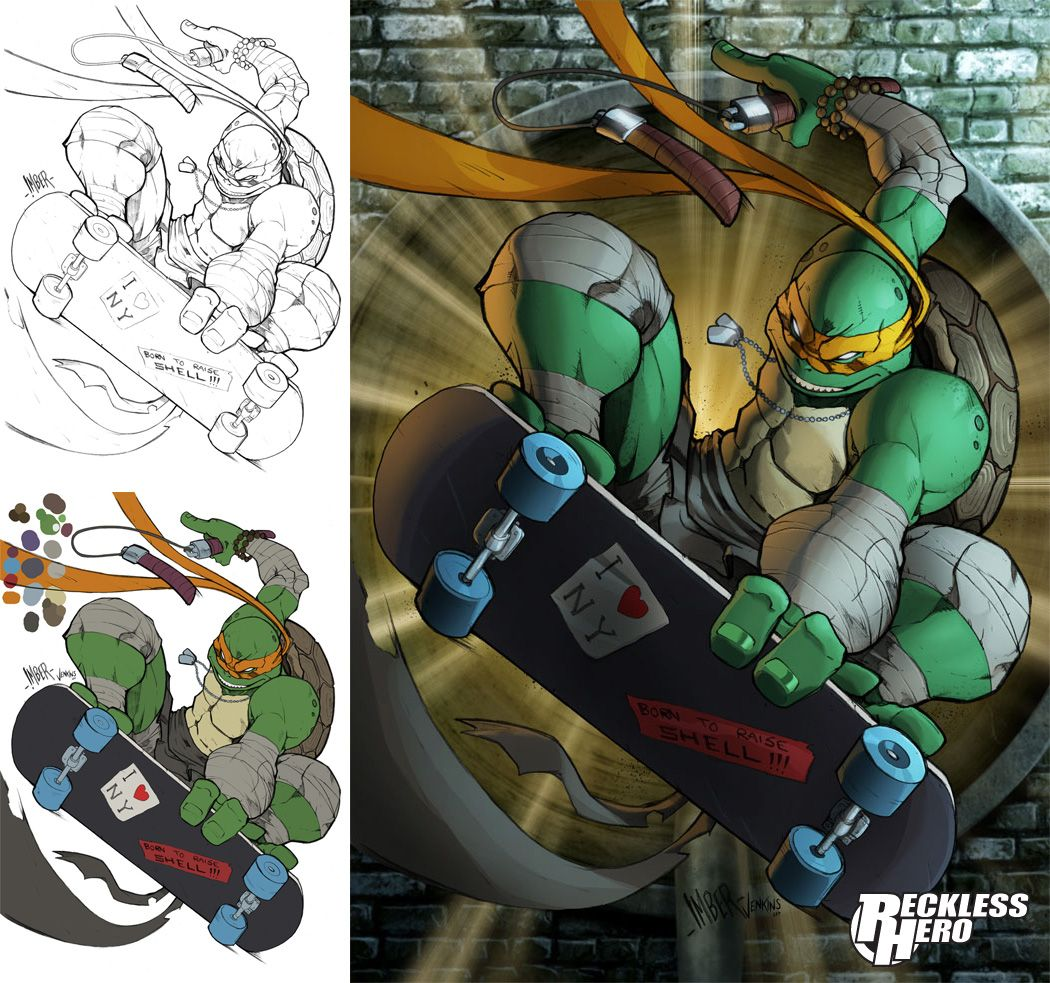 TMNT Michaelangelo by RecklessHeroviantart on