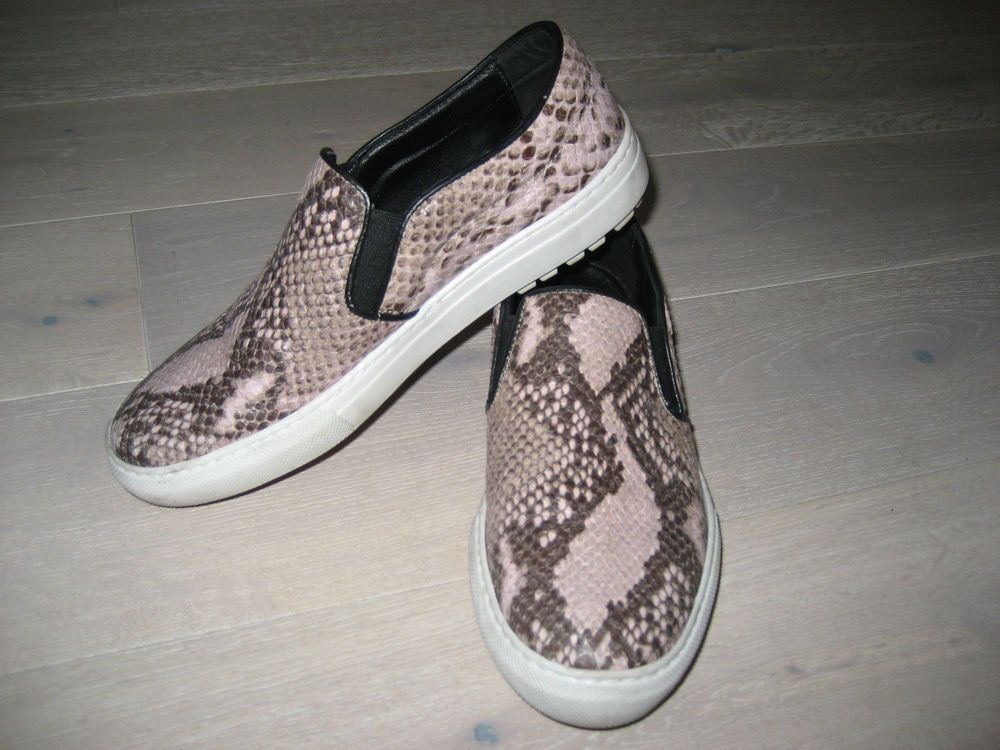 Zara Leather Snakeskin Python Print Slip On Skater Flat