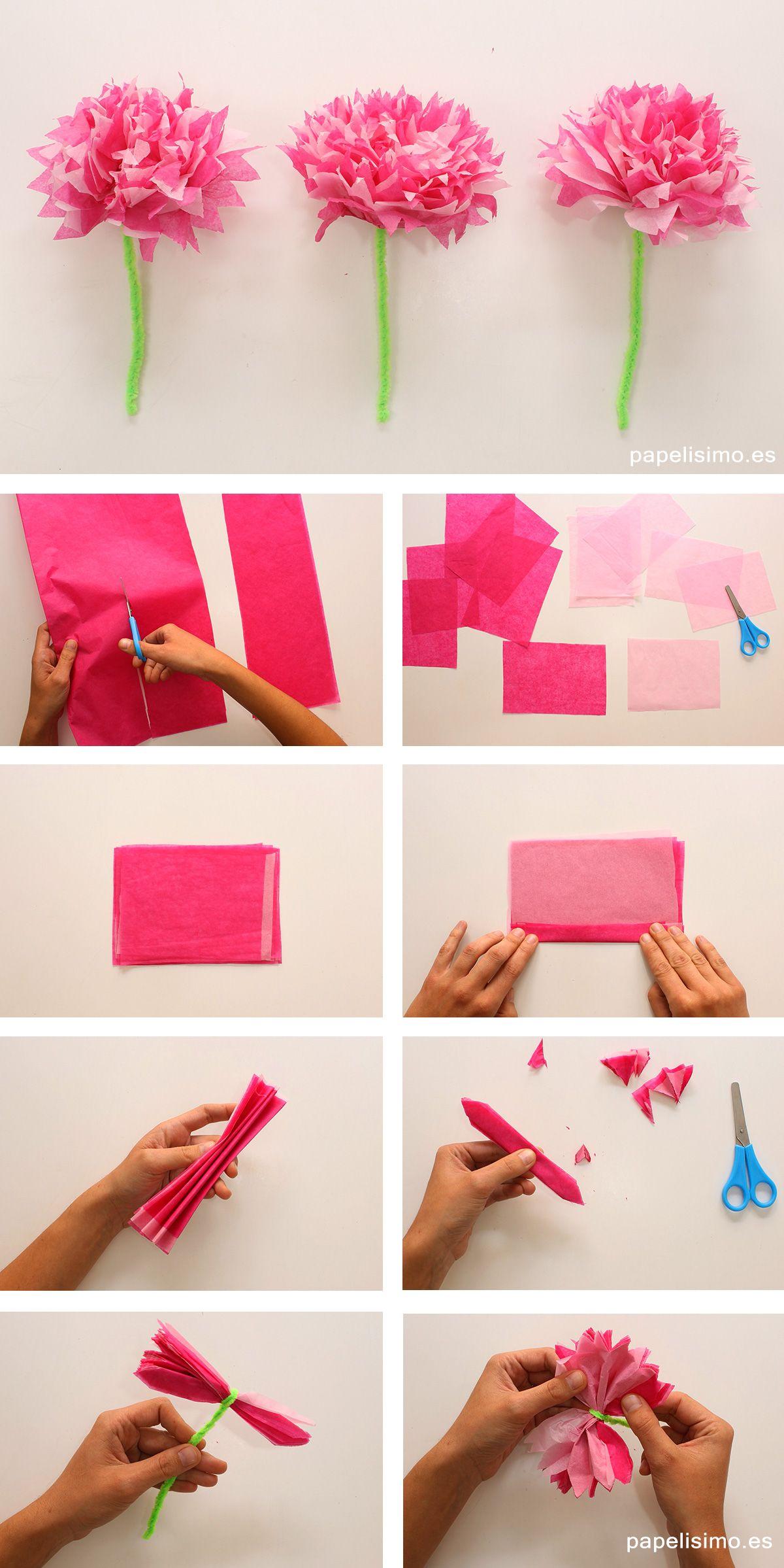 Como hacer flor de papel de seda paso a paso tissue paper - Como hacer manualidades ...