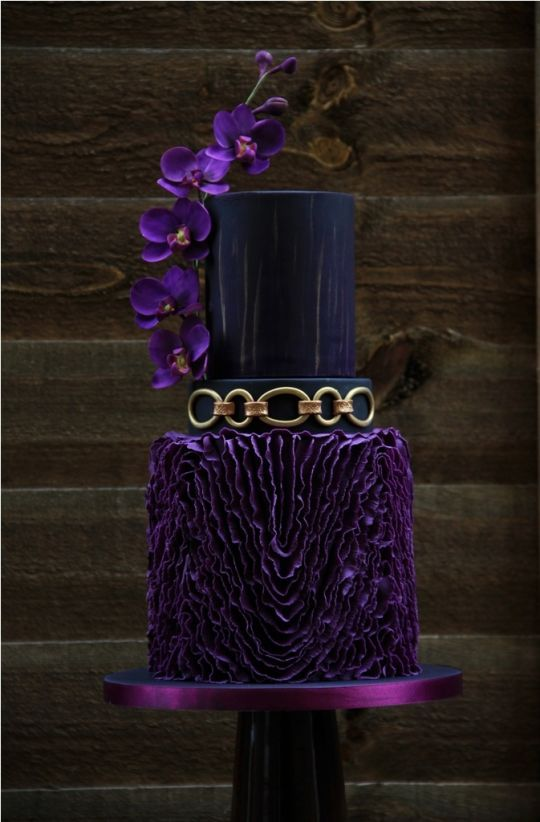 purple, black and gold wedding cake | WEDDING CAKES | Pinterest ...