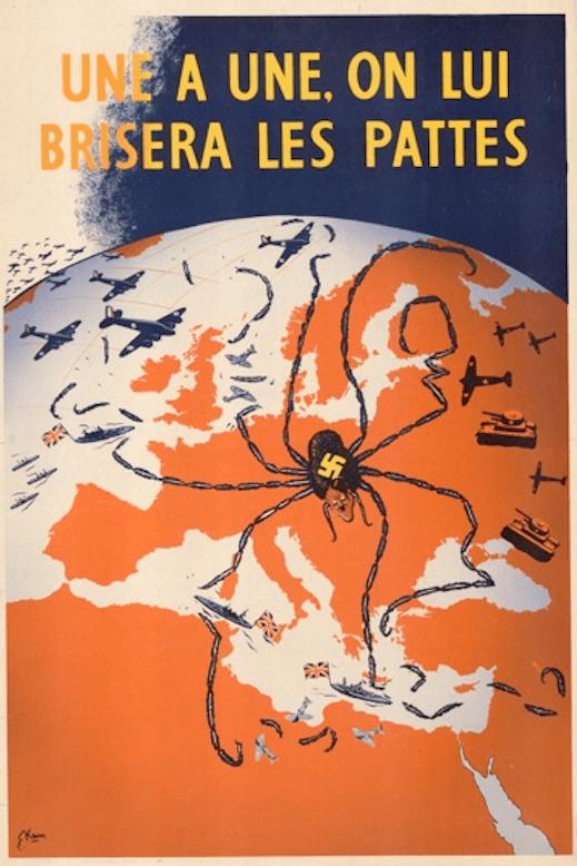 Това би могла да очаква ЕВРОПА отъ болшевизма [This is what can be expected if Europe succumbs to Bolshevism], 1944  En numerosas ocasiones los mapas de propaganda mostraban a los líderes de los bandos contrarios representados por arañas. En este caso es Adolf Hitler el que extiende sus patas por toda Europa.