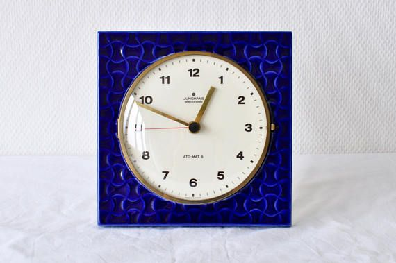 Admirable Blue Ceramic Wall Clock By Junghans Made In Germany Ato Download Free Architecture Designs Rallybritishbridgeorg