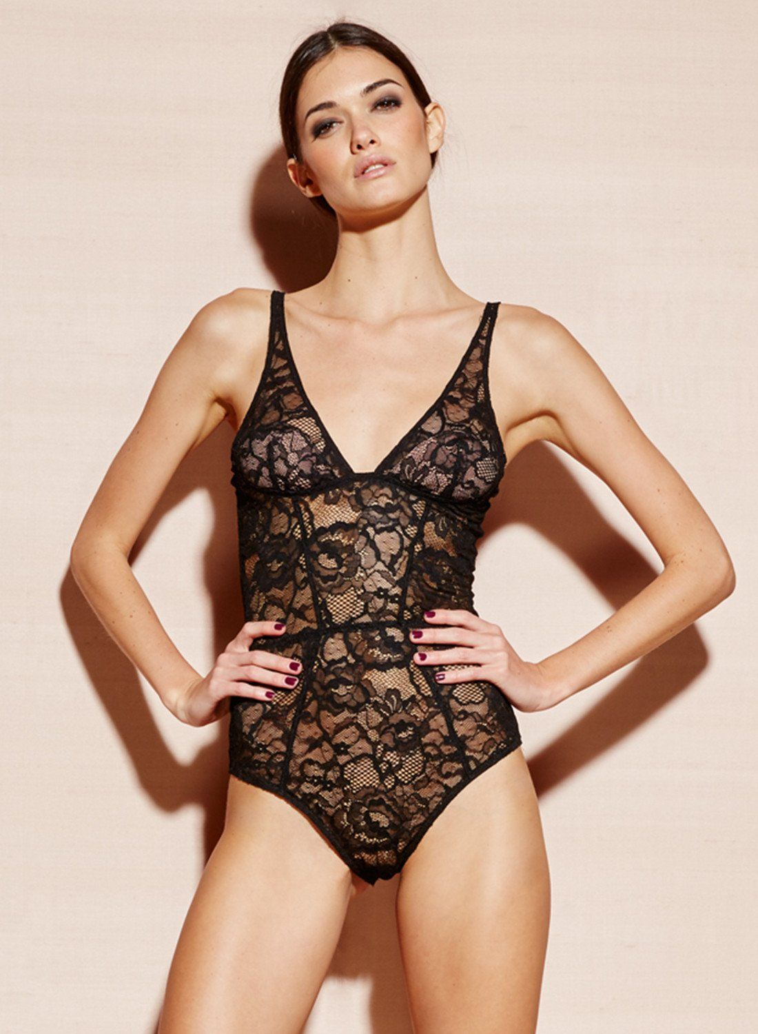 7f8ff5e3a3 Our updated Chat Noir lace bodysuit features a plunging neckline and a high  leg. Made from figure-flattering stretch French Leavers Lace with a  perfectly ...