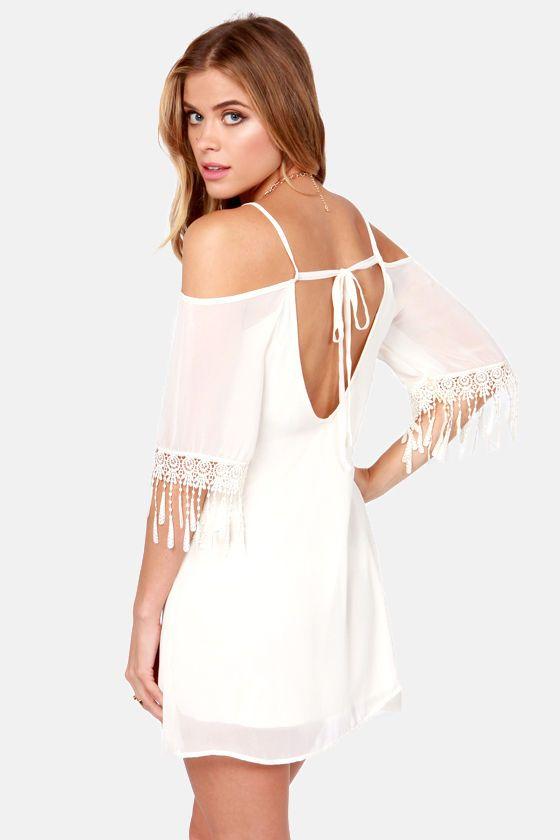 Slide and True Off-the-Shoulder Cream Dress at LuLus.com!