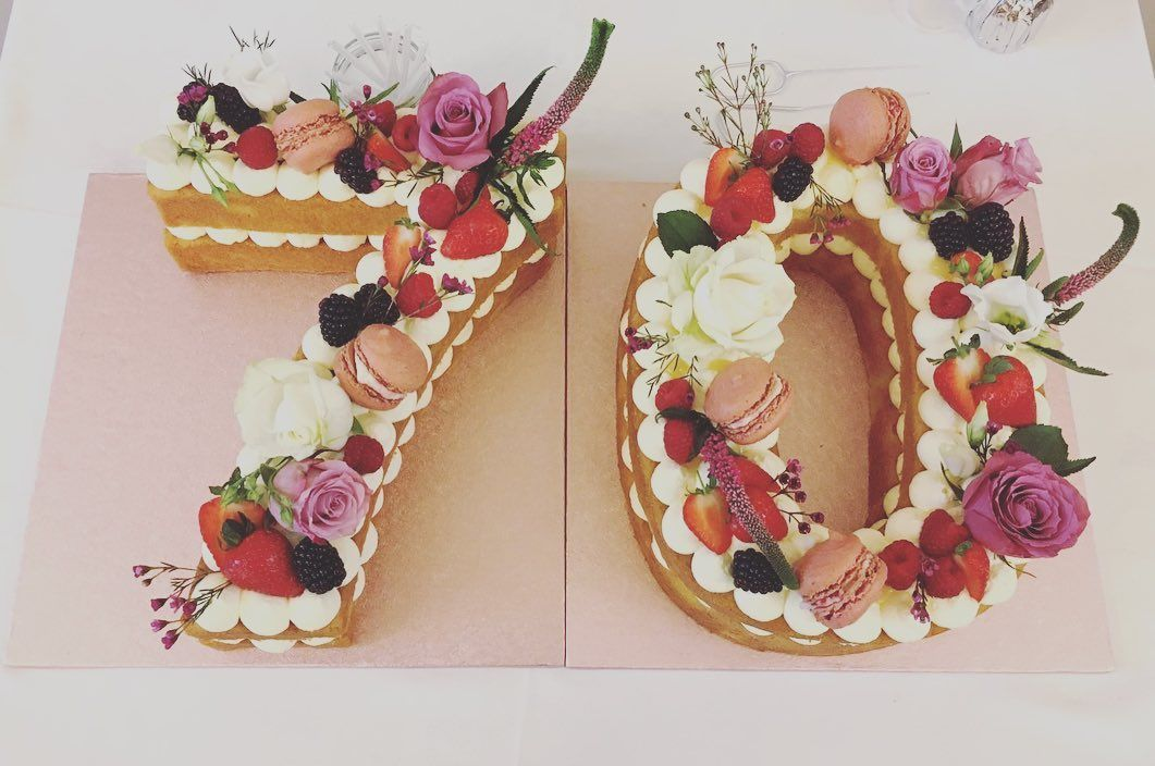Victoria Sponge styled 70 Birthday Cake with Double Cream & Fresh Berries complimented with some Raspberry Macaroons & Flowers 🌹